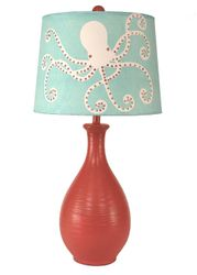 Solid Coral Ridged Tear Drop Table Lamps w/ Artsy Octopus Shade
