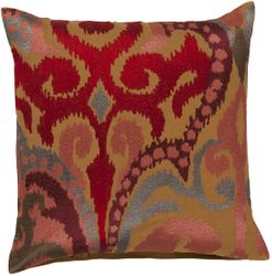 Ruby and Coffee Ikat Pillow