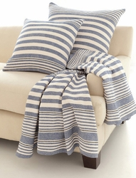 Rugby Stripe Denim Woven Cotton Throw