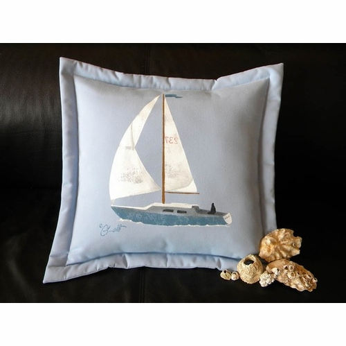 Sailboat on Blue Pillow
