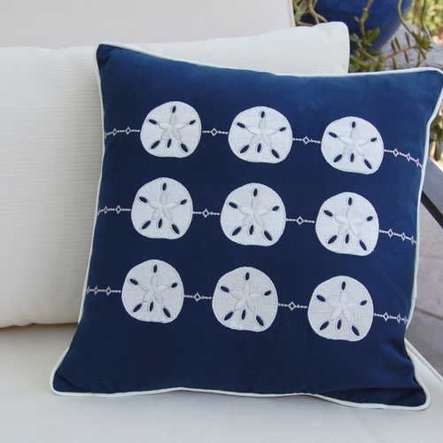 Sand Dollar Repeat Pattern Outdoor Pillow