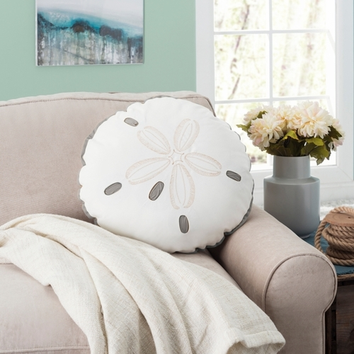 Sand Dollar Shaped Indoor/Outdoor Pillow in Gray