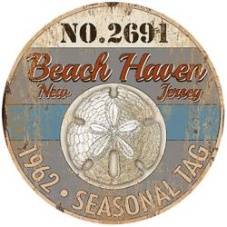 Sand Dollar Vintage Beach Sign - Personalize