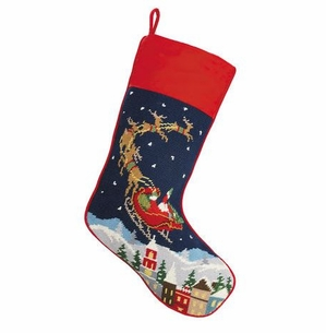 Santa and Reindeers Christmas Stocking<font color =a8bb35> Sold out</font>