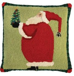 Santa Giving Christmas Pillow  <font color=a8bb35> NEW</font>