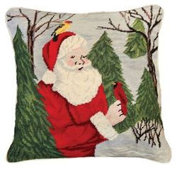 Santa with Birds Christmas Pillow  <font color=a8bb35> NEW</font>