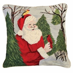 Santa with Birds Christmas Pillow