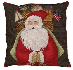 Santa with Gifts Christmas Pillow  <font color=a8bb35> NEW</font>