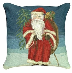 Santa with Tree Christmas Pillow