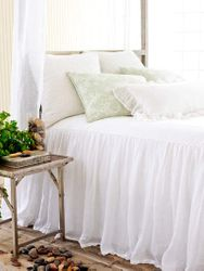 Savannah Linen Gauze White Bedspread 15% Off