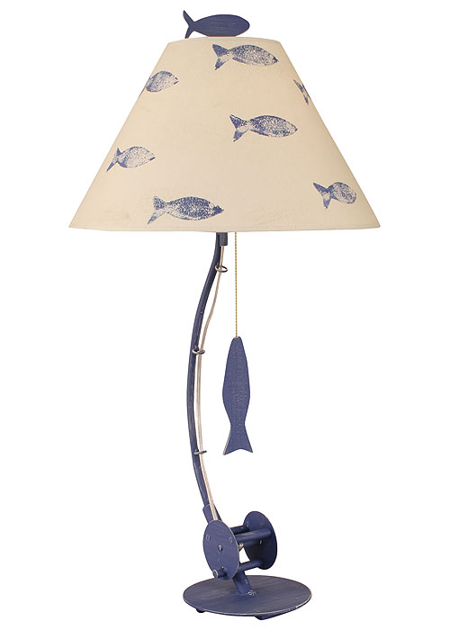 Sea Fishing Pole Table Lamp In Blue For
