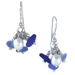 Sea Glass and Pearl Caviar Earrings