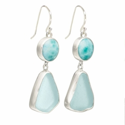 Sea Glass Earrings with Lagoon Drop Wire <font color=a8bb35> Sold Out</font>