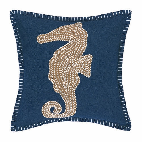 Sea Horse Embroidered Pillow