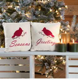 Seasons Greeting Cardinal Pillow - Set of 2
