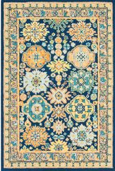 Serafina Dark Blue Hand Tufted Rug  <font color=a8bb35> NEW</font>