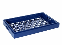 Set of 2 Sasoon Lacquered Nesting Trays in Navy