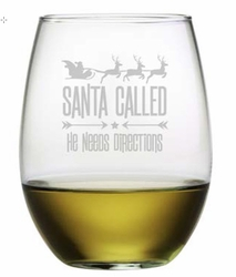 Set of 4 Stemless Wine Glasses - Santa Called