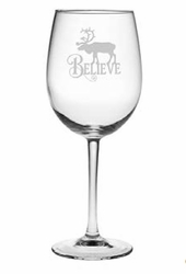 Set of 4 Wine Glasses - Believe Reindeer
