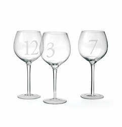 Set Of 12 Numerology Wine Glasses