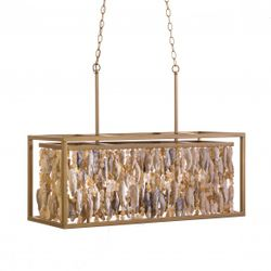 Shell and Chrystal Rectangle Box Chandelier