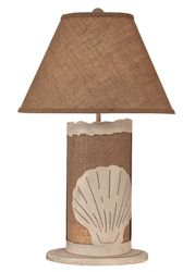 Burlap Shell Table Lamp w/ Night Light