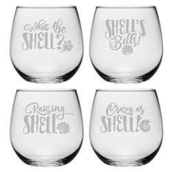 Shells Bells Stemless Wine Glasses - Set of 4 *NEW