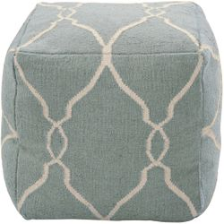 Slate Blue Wool Pouf