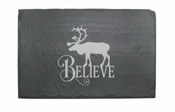 Slate Cheese Server - Believe Reindeer