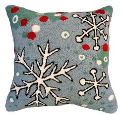 Snowflake Blue Field Christmas Pillow  <font color=a8bb35> NEW</font>