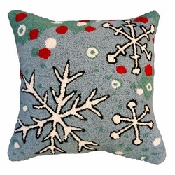 Snowflake Blue Field Christmas Pillow