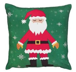 Snowflake Santa Christmas Pillow  <font color=a8bb35> NEW</font>