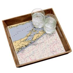 Stained Wood Serving Tray - Customize Your Location