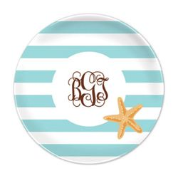 Starfish Stripe Plates - Set of Four