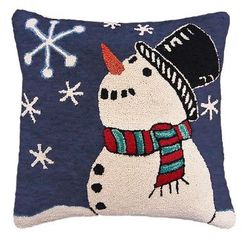 Starry Snowman Christmas Pillow <font color=a8bb35> NEW</font>