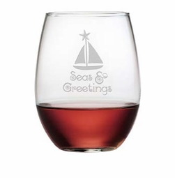 Stemless Wine Glass - Seas & Greetings Set of 4
