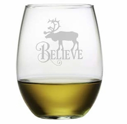 Stemless Wine Glasses - Believe Reindeer Set of 4