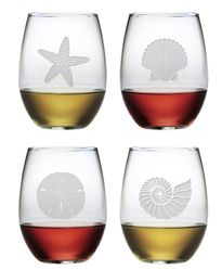 Stemless Wine Glasses Seashore Set of Four