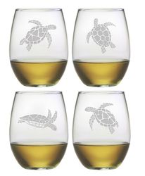 Stemless Wine Glasses with Sea Turtles