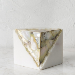 Stone & Mother of Pearl Paperweight Cube