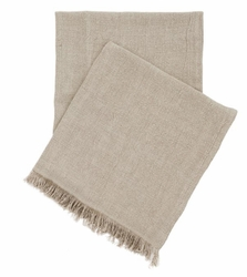 Stone Washed Linen Throw Natural Beige