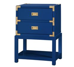 Tansu Two-Drawer Side Table - Navy Blue