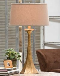 Tapered Hex Column Table Lamp - Antique Gold Leaf