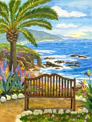 The Bench By The Sea Beach Print