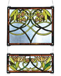 Waterlily 2-Piece Stained Glass Window