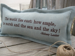 The World Lies East Coastal Phrase Pillow