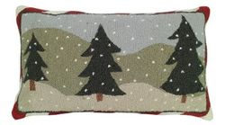 Three Trees Christmas Pillow  <font color=a8bb35> NEW</font>