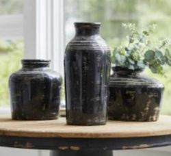 Town & Country Black Ceramic Vase in 3 Sizes