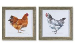 Town & Country Framed Chicken Print Set of 4