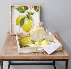 Town & Country Lemon Print Tray Set of 2